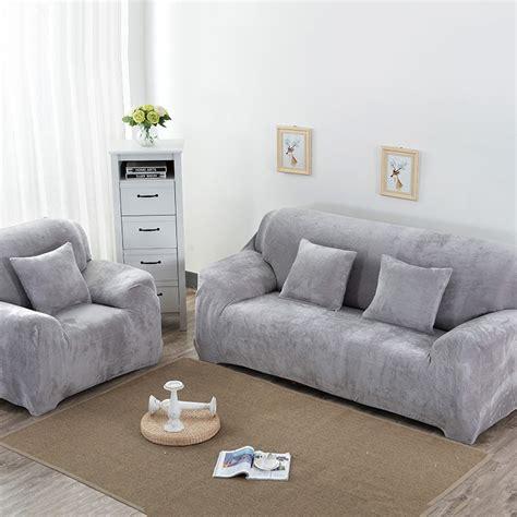 plush sofa cover soft plush stretch sofa cover black beige thicken sofa