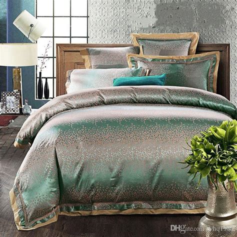 silk comforter sets luxury green jacquard tribute silk king size bedding