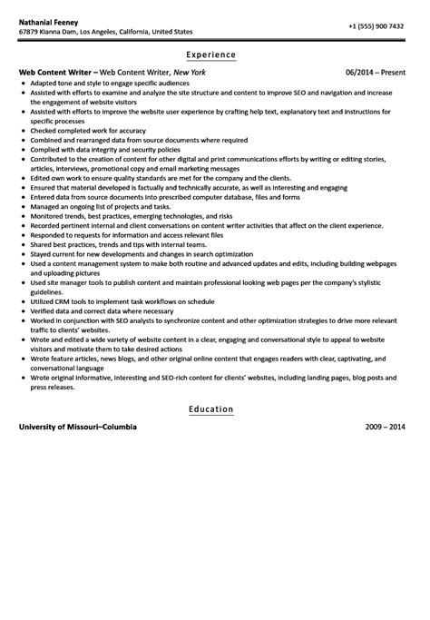 content writer resume objective