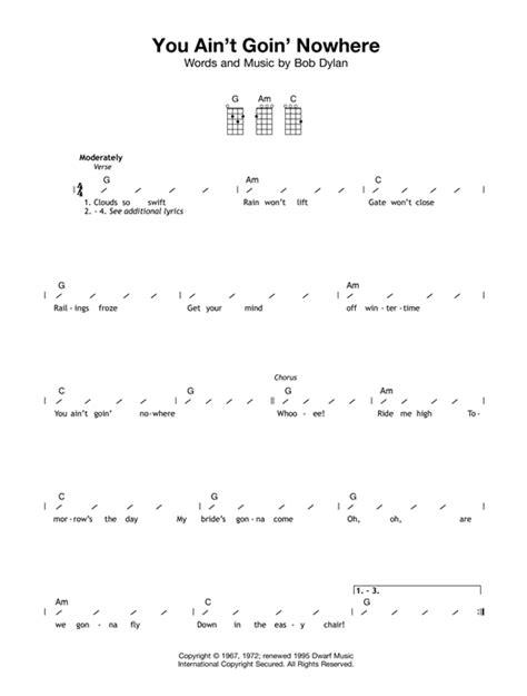 You Ain T Going Nowhere Strumming Pattern | you ain t goin nowhere sheet music by bob dylan ukulele