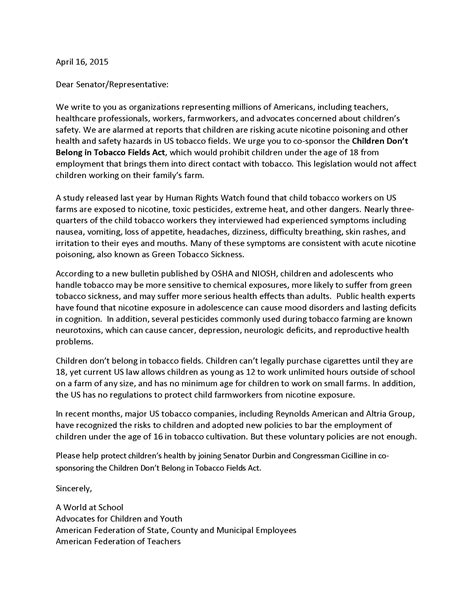 Support Letter For Ngo 50 Groups To Congress Support The Children Don T Belong On Tobacco Fields Act Caign For