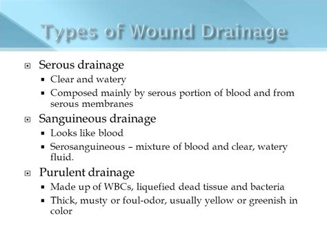 what color is serous drainage n 205 fundamentals of nursing ppt