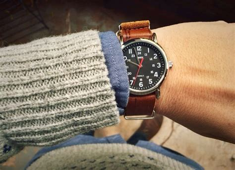 Silver Nato Torquise Medium timex weekender on leather nato timepieces