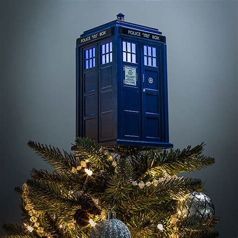doctor who tardis tree topper it s cheerier on the inside