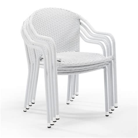 stackable white wicker chairs crosley palm harbor wicker patio stackable chair in white