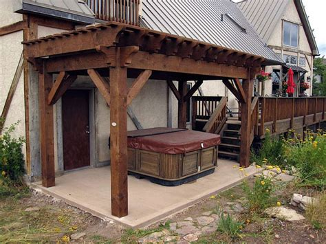 lee backyard pergola hot tub cover rustic patio salt