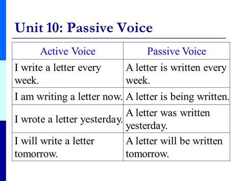 business letter active or passive voice grammar i unit 10 passive voice ppt