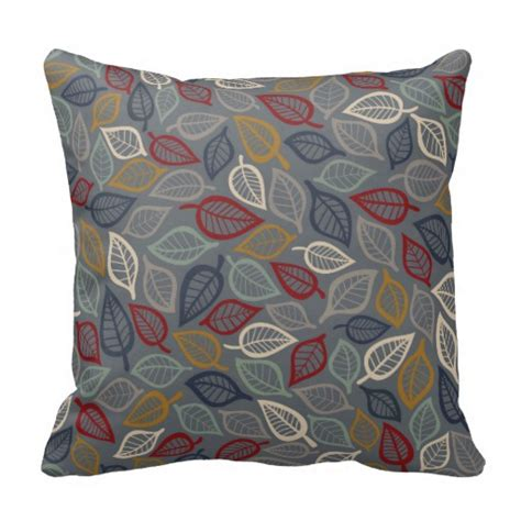 Blue Gray Throw Pillows by Gray Blue Leaf Decorative Throw Pillow Zazzle