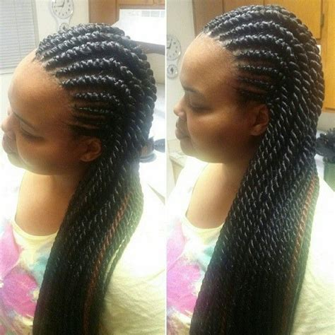 mohawk with senegalese rope twist care for relaxed hair pinterest natural hair mohawk with twists google search summer