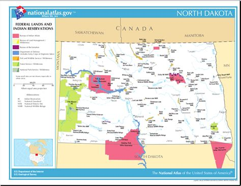 Map of North Dakota (Map Federal Lands and Indian