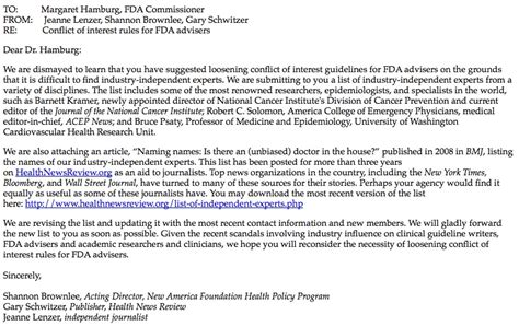 Letter Of Interest For Research Concerns Fda Loosening Conflict Of Interest Healthnewsreview Org