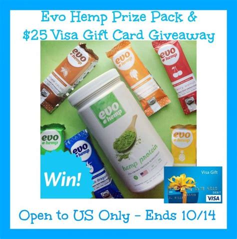 3 Pack Visa Gift Card - evo hemp prize pack 25 visa gift card giveaway