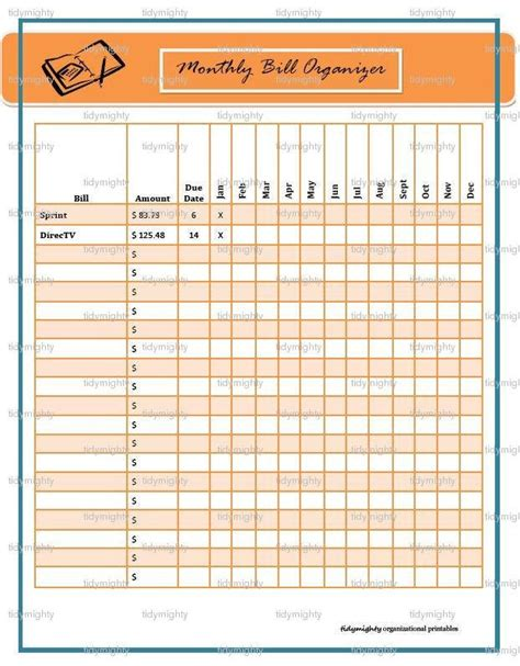 monthly bill organizer tracker printable tidymighty