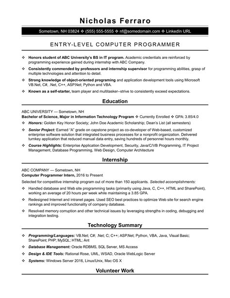 sle resume for an entry level computer programmer