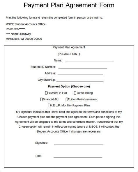 Payment Agreement Letter Template Form November 2015