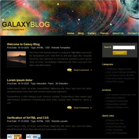 blogger themes galaxy galaxy template free website templates in css html js