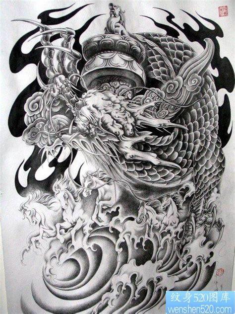 半胛盘柱龙龙华表五马奔腾纹身手稿图片作品 珍藏