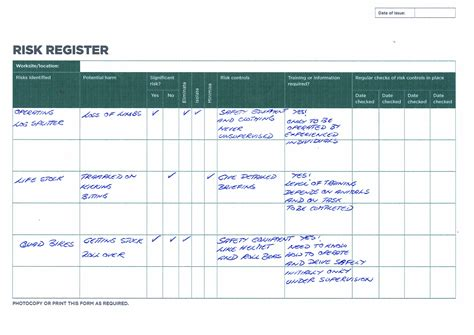 hazard risk register template hazard risk register template image collections free