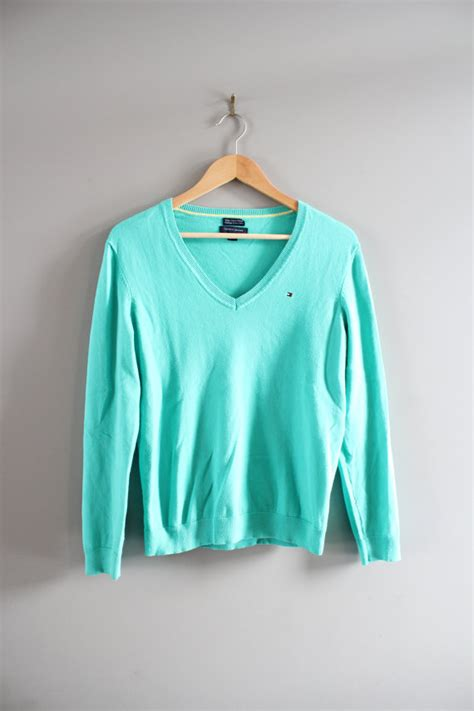 Sweater Unisex Polos Pink hilfiger sweater teal green pima cotton sweater