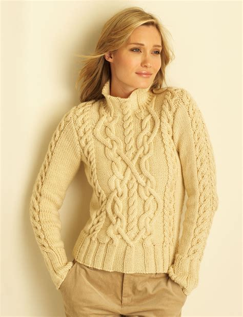 free knitting patterns for aran wool free pattern yarnspirations bernat cable sweater