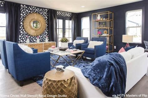 lovely Types Of Paint Finishes #4: blue_modern_mid_century_living_room_makeover_large_wall_pattern_stencils_1200x1200.jpg?v=1531508559
