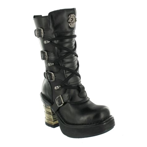 new rock m8373 womens leather platform boots black mid