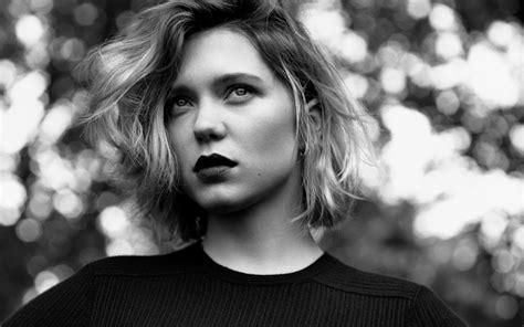 lea seydoux black and white wallpaper face women model short hair actress