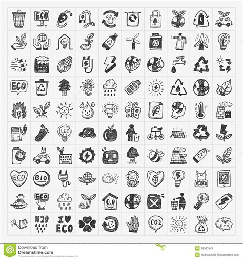 doodle icons free vector doodle eco icons stock vector image of renewable tree
