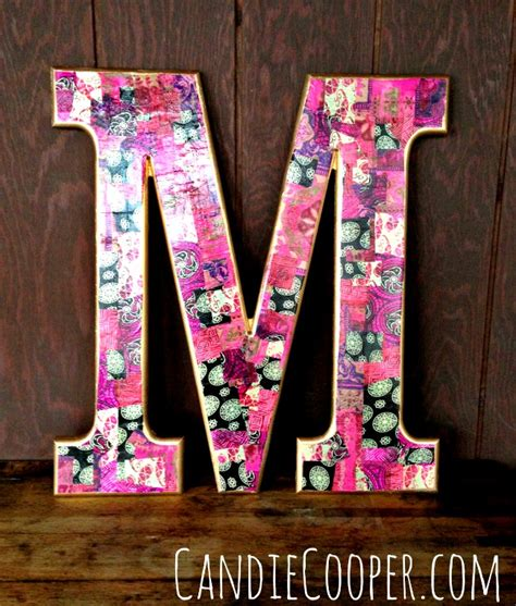 Decoupage Letters - how to decoupage with gold leaf paint tutorial candie cooper
