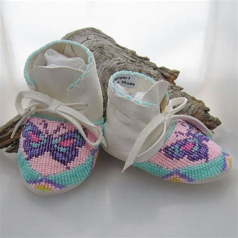 beaded baby moccasins made of soft deer hide leather