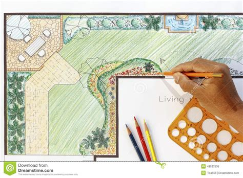 Landscape Architect Design L Shape Garden Plan Stock Photo