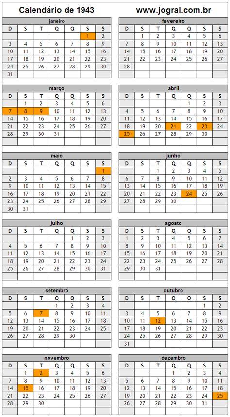 Calendario De 1943 Calend 225 Ano 1943 Para Imprimir Em Formato Pdf E Imagem