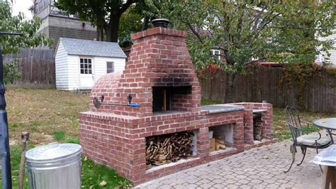 wood fired brick pizza oven and brick bbq grill back