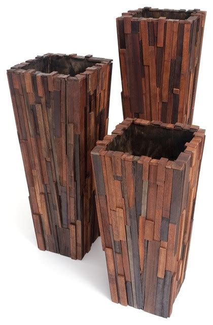 modern wood planter salvaged wood planter set contemporary indoor pots and planters miami