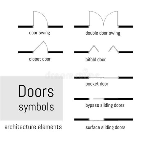 swing layout elements top view construction symbols used in architecture plans