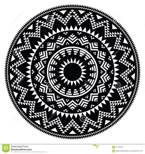 black and white round pattern tribal folk aztec geometric pattern in circle stock