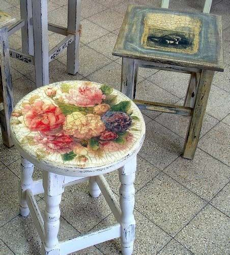Decoupage Stool - try your at shabby chic decoupage 21 gorgeous