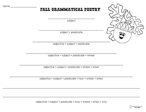 poetry templates for grammatical poetry fall squarehead teachers