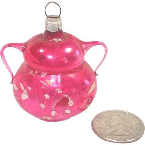 mini pink glass urn or vase west germany christmas