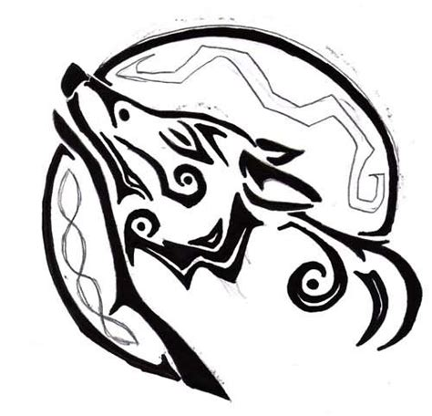 tribal circle tattoo tribal wolf and circle design