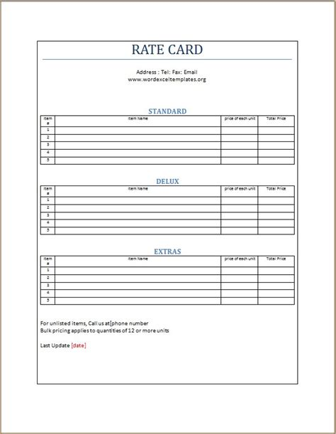 rate card template excel rate card template word excel templates