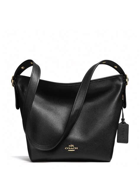 Coach Tote Black Leather Shoulder Bag coach dufflette leather shoulder bag in black lyst