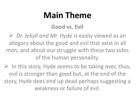 themes of jekyll and hyde strange case of dr jekyll mr hyde