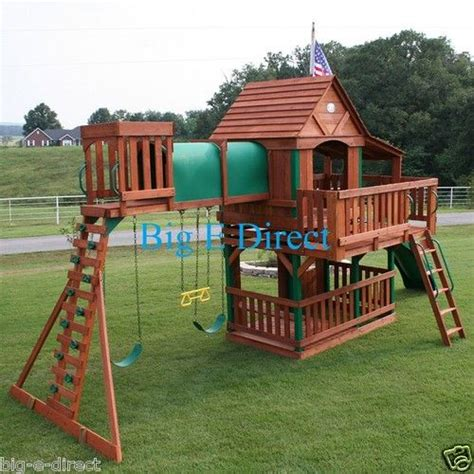house of swing outdoor wooden swing set play house with slide tunnel ladder deck bench porch wooden