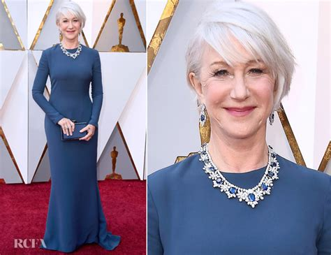 Helen Mirren Claims Award At The Oscars by Helen Mirren In Reem Acra 2018 Oscars Carpet
