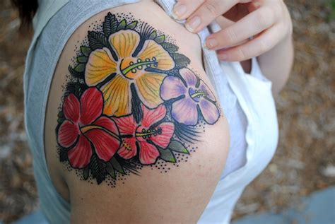 colorful flower tattoos 53 fabulous hibiscus shoulder tattoos