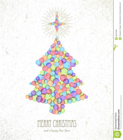 merry christmas watercolor tree card background stock