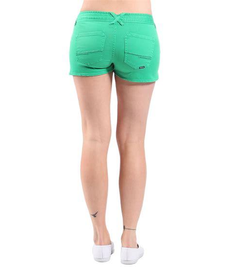 bench shorts womens bench womens good legs denim shorts in green lyst