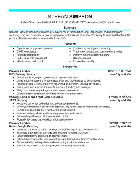 Package Handler Resume by Best Package Handler Resume Exle Livecareer