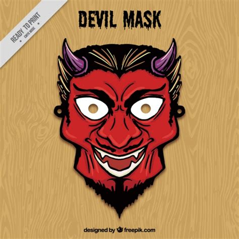 printable devil mask hand drawn devil mask vector free download